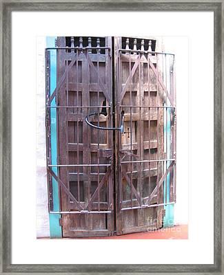 Framed Print featuring the photograph Santa Fe Old Door by Dora Sofia Caputo Photographic Art and Design