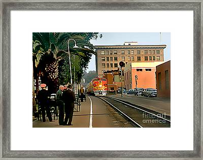 Santa Fe Train Comes Into Town Framed Print