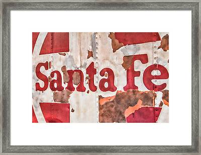 Santa Fe Vintage Railroad Sign Framed Print by Steven Bateson