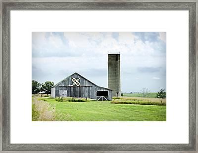 Santa Fe Wagon Tracks Quilt Barn Framed Print by Cricket Hackmann