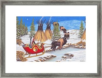 Santa For Indians Framed Print by Billie Bowles