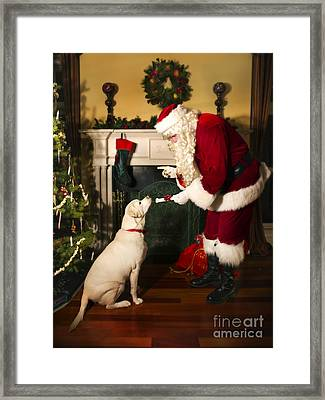 Santa Giving The Dog A Gift Framed Print by Diane Diederich