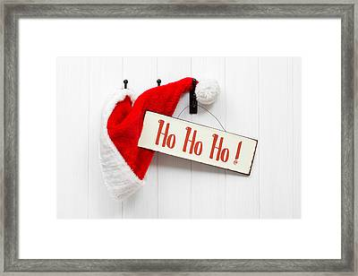 Santa Hat And Sign Framed Print by Amanda Elwell