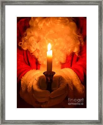 Santa Holding Candle Framed Print by Amanda Elwell