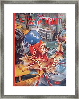 Santa In Nyc Framed Print by Carter Goodrich