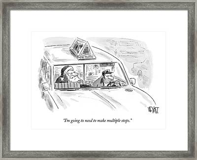 Santa In The Back Of A Cab Framed Print
