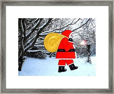 Santa In Winter Wonderland Framed Print by Patrick J Murphy