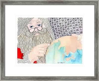 Santa Is Planning Framed Print by Paula Dickerhoff