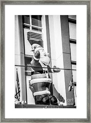 Santa Key West Style - Black And White Framed Print