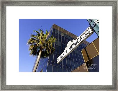 Santa Monica Blvd Sign In Beverly Hills California Framed Print by Paul Velgos
