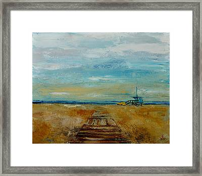 Framed Print featuring the painting Santa Monica Boardwalk by Lindsay Frost