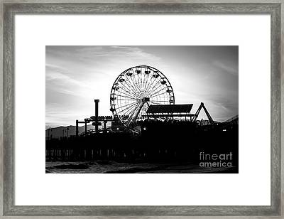 Santa Monica Ferris Wheel Black And White Photo Framed Print