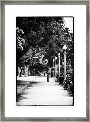 Santa Monica Jogging Framed Print by John Rizzuto