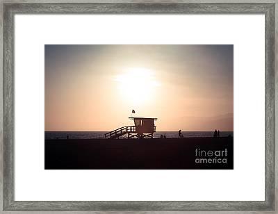 Santa Monica Lifeguard Stand Sunset Photo Framed Print by Paul Velgos