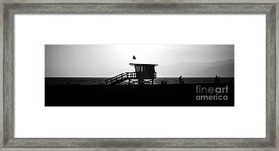 Santa Monica Lifeguard Tower Black And White Picture Framed Print by Paul Velgos