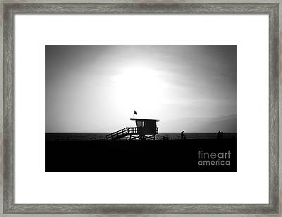 Santa Monica Lifeguard Tower In Black And White Framed Print by Paul Velgos