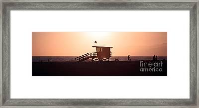 Santa Monica Lifeguard Tower Panorama Photo Framed Print by Paul Velgos