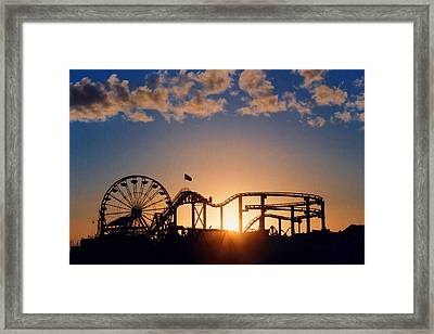Santa Monica Pier Framed Print by Art Block Collections