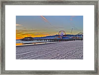 Santa Monica Pier At Dusk Framed Print by Joe  Burns
