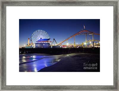 Santa Monica Pier At Night Framed Print