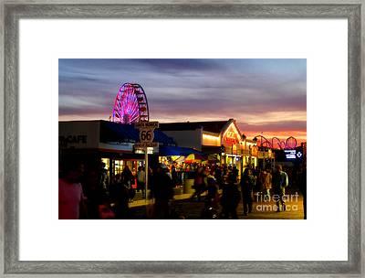 Santa Monica Pier At Sunset Framed Print by Diana Sainz