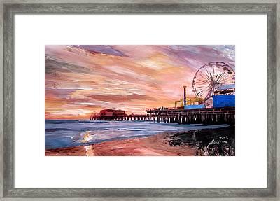 Santa Monica Pier At Sunset Framed Print
