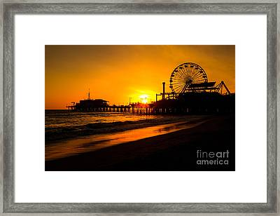 Santa Monica Pier California Sunset Photo Framed Print by Paul Velgos