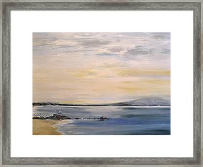 Framed Print featuring the painting Santa Monica Pier by Lindsay Frost