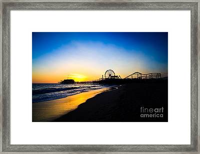 Santa Monica Pier Pacific Ocean Sunset Framed Print by Paul Velgos