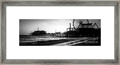 Santa Monica Pier Panorama Black And White Photo Framed Print by Paul Velgos