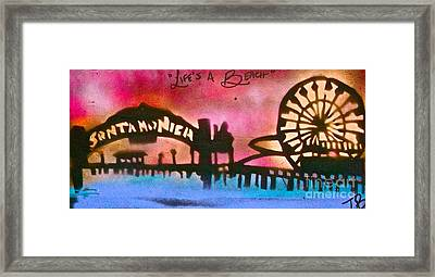 Santa Monica Pier Red Framed Print by Tony B Conscious