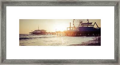 Santa Monica Pier Retro Sunset Panorama Photo Framed Print by Paul Velgos