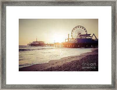 Santa Monica Pier Retro Sunset Picture Framed Print by Paul Velgos