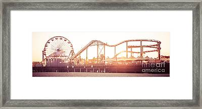 Santa Monica Pier Roller Coaster Panorama Photo Framed Print