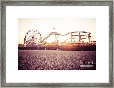 Santa Monica Pier Roller Coaster Retro Photo Framed Print by Paul Velgos