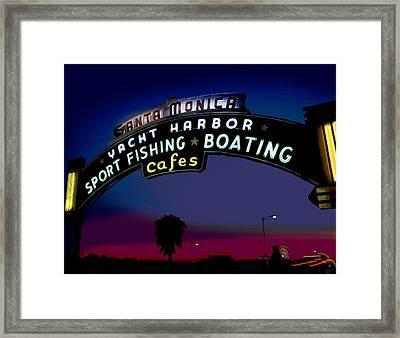 Santa Monica Pier Sign At Night Framed Print by Charles Shoup