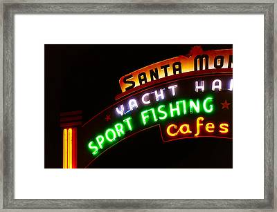 Framed Print featuring the photograph Santa Monica Pier Sign by Michael Hope