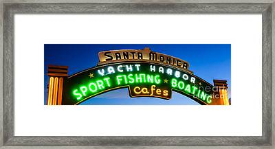 Santa Monica Pier Sign Panorama Picture Framed Print by Paul Velgos