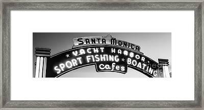 Santa Monica Pier Sign Panoramic Black And White Photo Framed Print by Paul Velgos