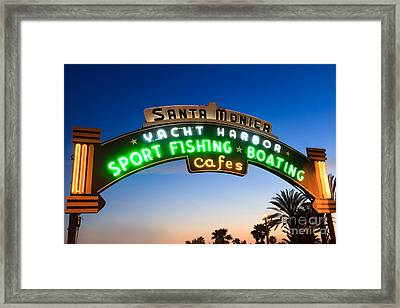 Santa Monica Pier Sign Framed Print by Paul Velgos