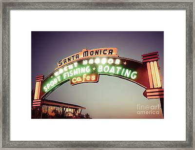Santa Monica Pier Sign Retro Photo Framed Print by Paul Velgos