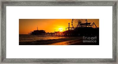 Santa Monica Pier Sunset Panorama Photo Framed Print by Paul Velgos