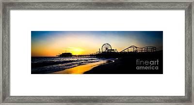 Santa Monica Pier Sunset Panoramic Photo Framed Print by Paul Velgos