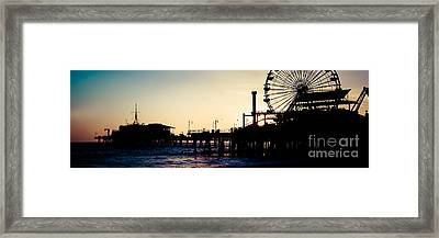 Santa Monica Pier Sunset Retro Panoramic Photo Framed Print by Paul Velgos