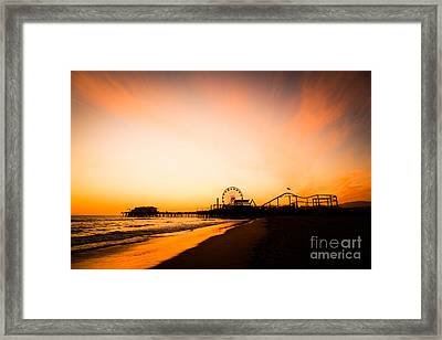 Santa Monica Pier Sunset Southern California Framed Print by Paul Velgos