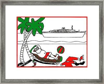 Santa On Vacation Framed Print by Genevieve Esson