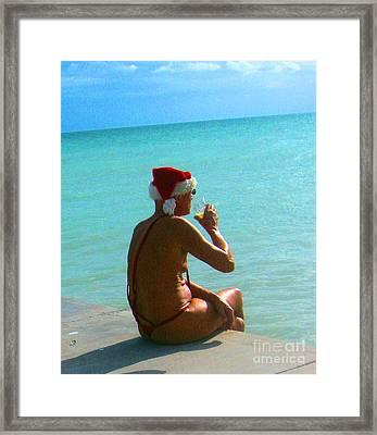 Santa On Vacation Framed Print