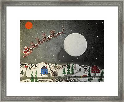 Santa Over The Moon Framed Print by Jeffrey Koss