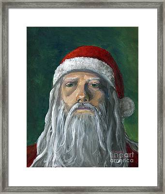 Santa Portrait Art Red And Green Framed Print