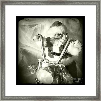 Santa Rides His Motorcyle Framed Print by Nina Prommer